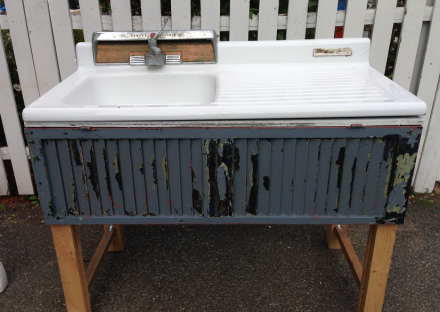 Vintage Sink on Base with Blue Shutter