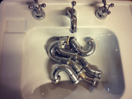 Green Goat Salvaged Sink and Pipes PM