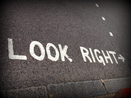 London Street Sign Look Right PM