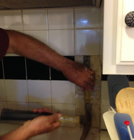 Tile Removal Behind the Stove Coach