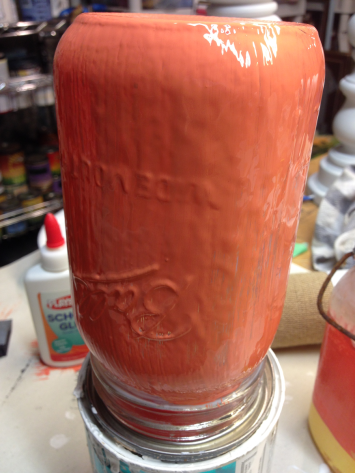 Mason Jar Coated Orange Paint over Glue