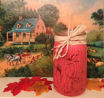 Orange Crackled Mason Jar Fall Scene