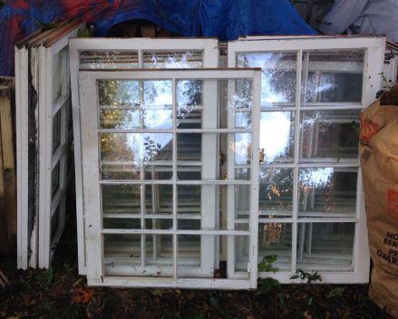 White multi-paned windows for DIY