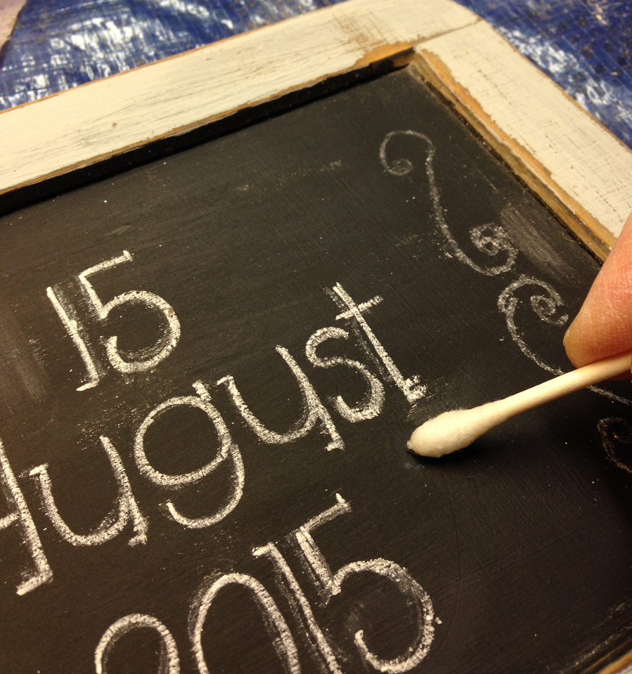 Wedding Date Chalkboard Cleaning up Chalk with damp Q-tip 9.