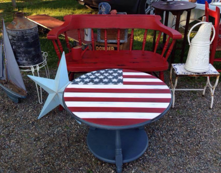 American Flag Coffee Table Vignette