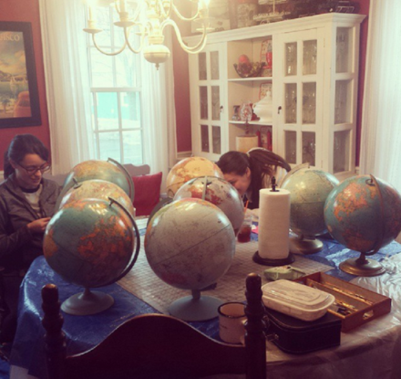 Painting Globes for wedding