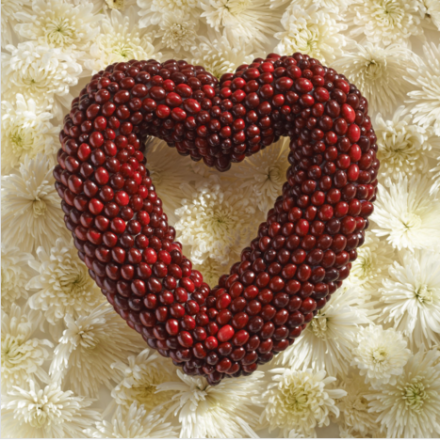 Artful Cranberry Heart Wreath