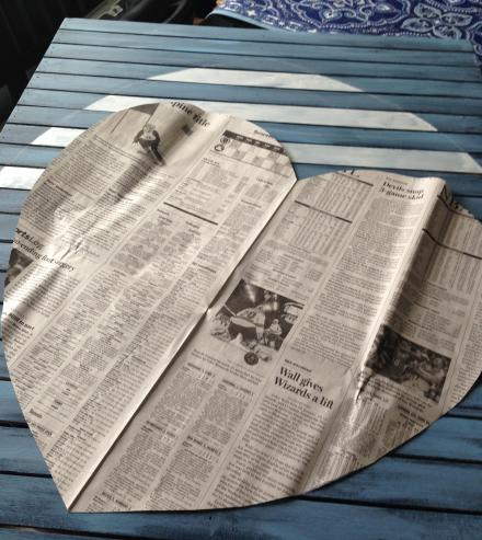 Vintage Americana Heart Newspaper Pattern