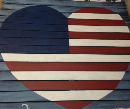 Vintage Americana Heart Red White and Blue