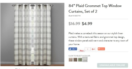 Christmas Tree Shops Plaid Curtain Panel