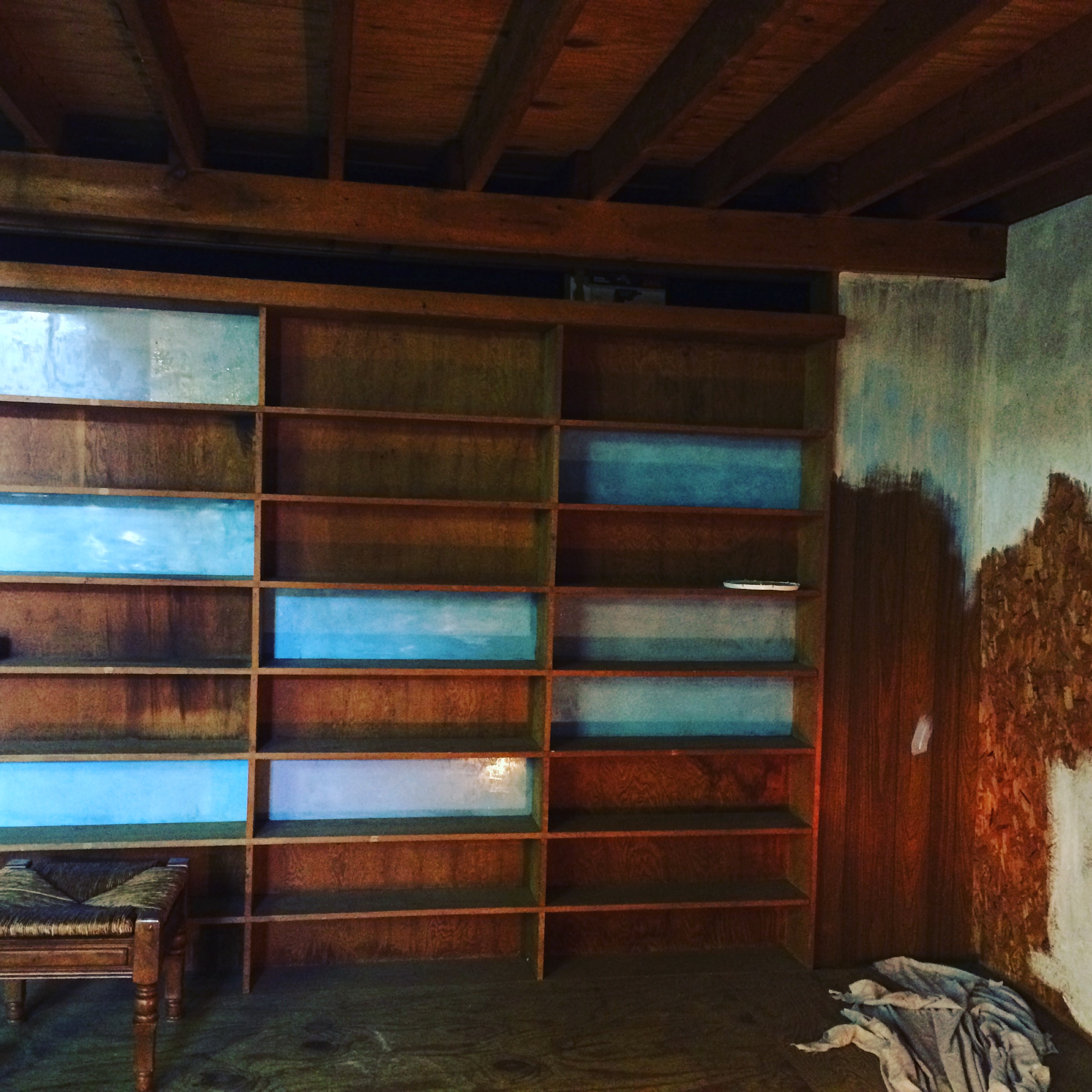 Barn Booth Painted Shelving