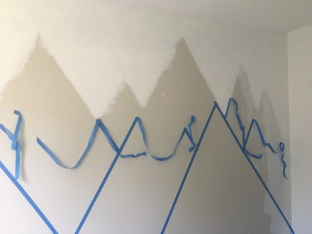 Mountain Mural Pulling Tape Back