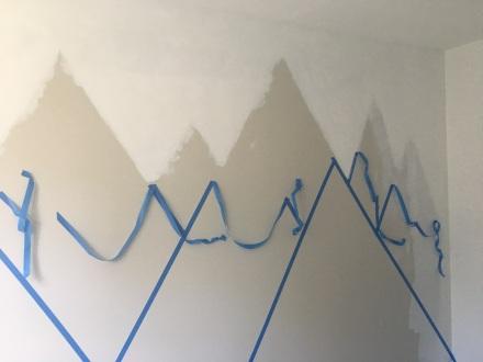 Mountain Mural Pulling Tape Back